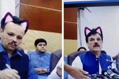 Funcionarios de gobierno olvidan apagar filtro en conferencia de un ministro en Facebook Live