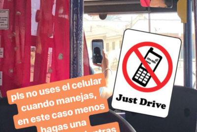 Captan a chofer de micro haciendo videollamada mientras conducía en Antofagasta