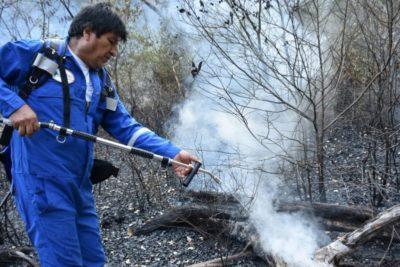 FOTOS | Evo Morales combate los incendios en las cercanías de la Amazonía