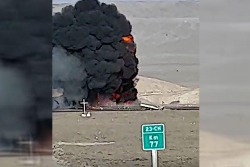 VIDEO | Fatal choque de camiones causa explosión en ruta Calama – San Pedro de Atacama