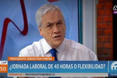 """Piñera defiende la flexibilidad laboral: """"Nuestro proyecto rebaja de 45 a 41 horas"""""""