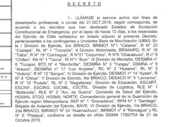 El decreto que llama a reservistas al servicio activo por estado de emergencia