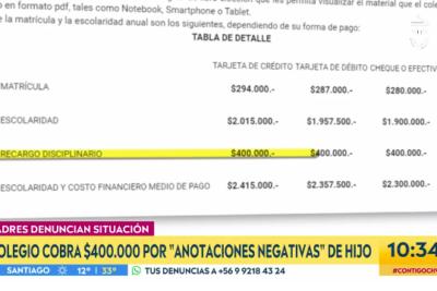 Colegio de Providencia cobra $400 mil por anotaciones negativas