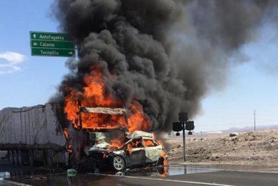 Cuatro fallecidos en choque frontal en ruta que une Calama y Tocopilla