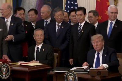 China y Estados Unidos firman primera fase de acuerdo comercial