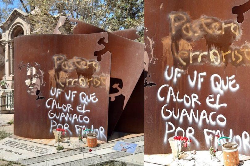 Desconocidos rayan tumba de Gladys Marín