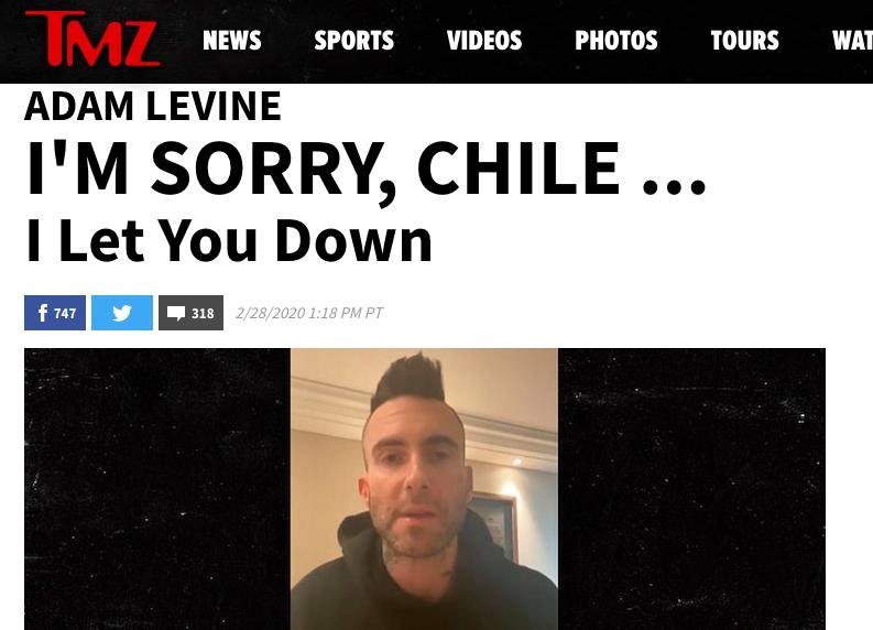 """""""De Chile al mundo: polémica de Adam Levine en Viña 2020 llega a portales internacionales"""""""