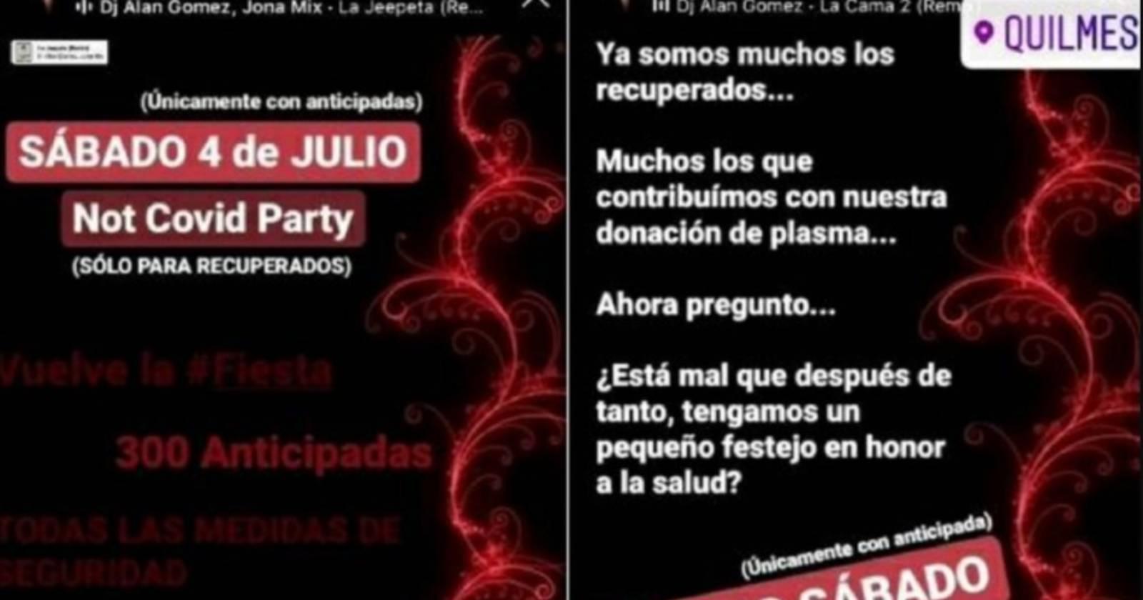 Not Covid: la polémica fiesta para recuperados de coronavirus en Argentina