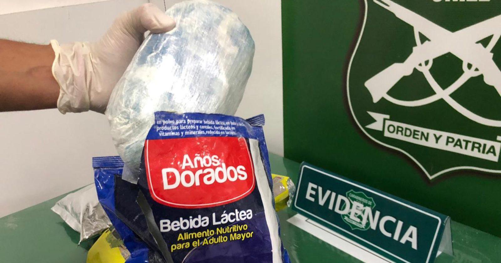 """""""Antofagasta: sujeto transportaba más de tres kilos de droga en envases de leche y puré"""""""