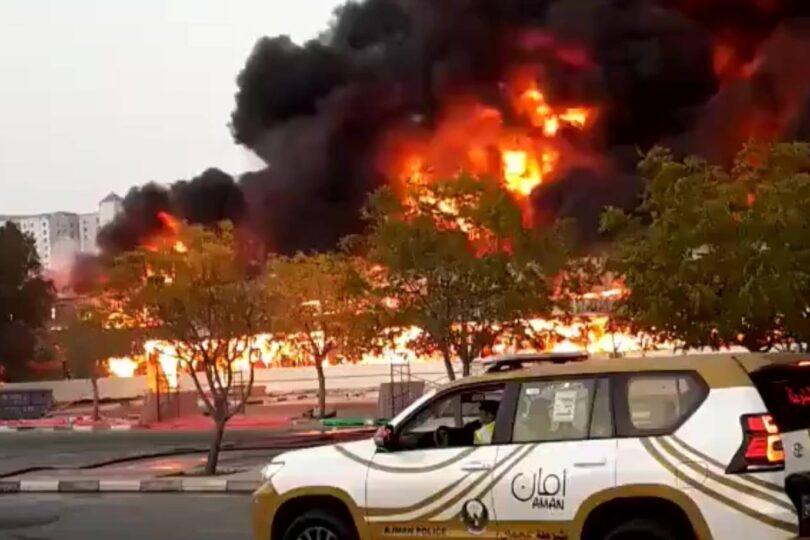 VIDEO – Impactante incendio se registra en un mercado de Emiratos Árabes Unidos