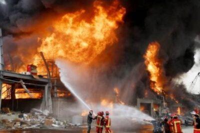 Registran enorme incendio en la zona de la explosión en Beirut