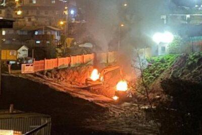 Investigan incendio de máquinas de construcción en terreno destinado a viviendas sociales en Viña del Mar