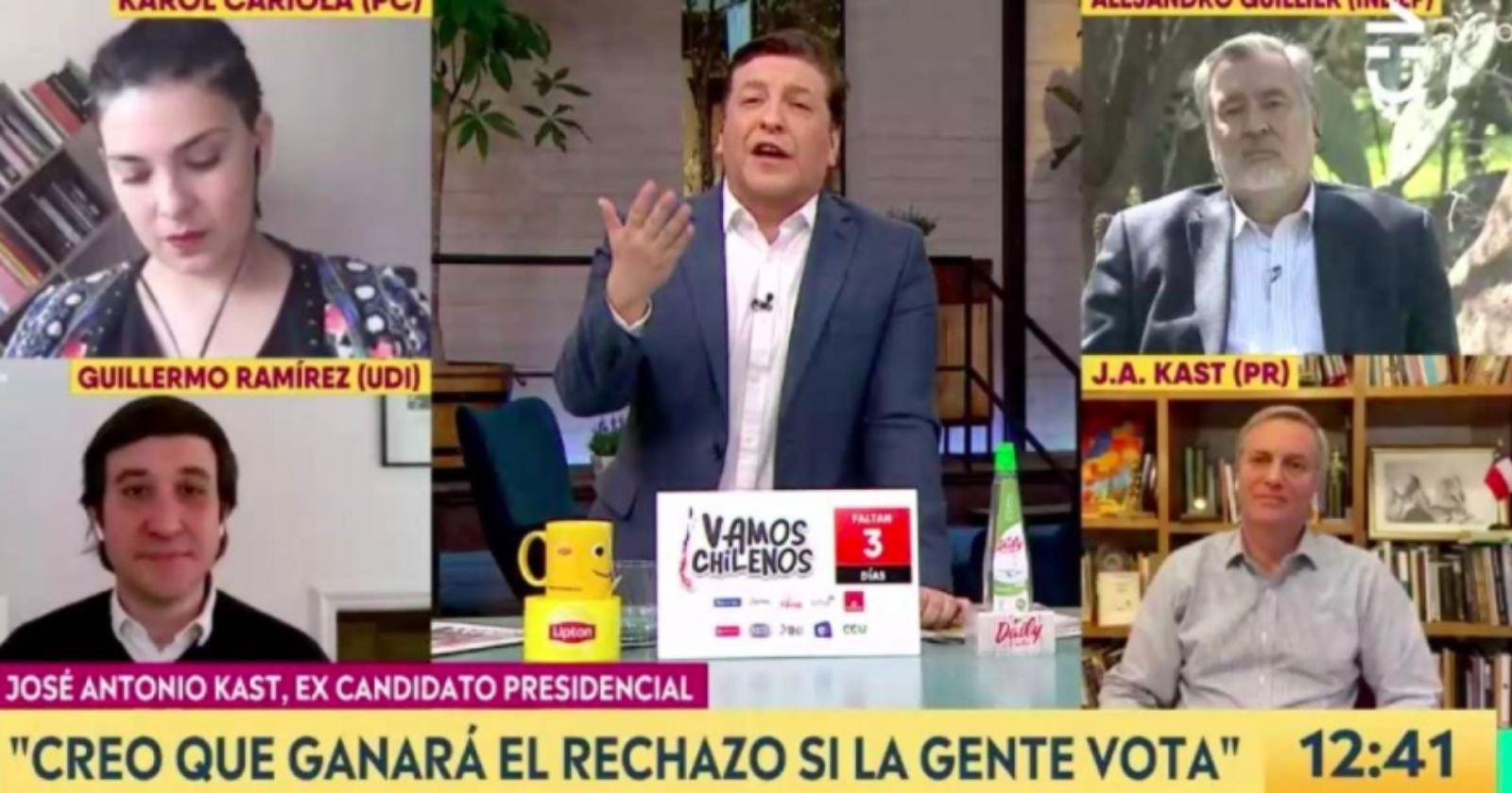 El cruce en vivo de Kast y Guillier en Chilevisión