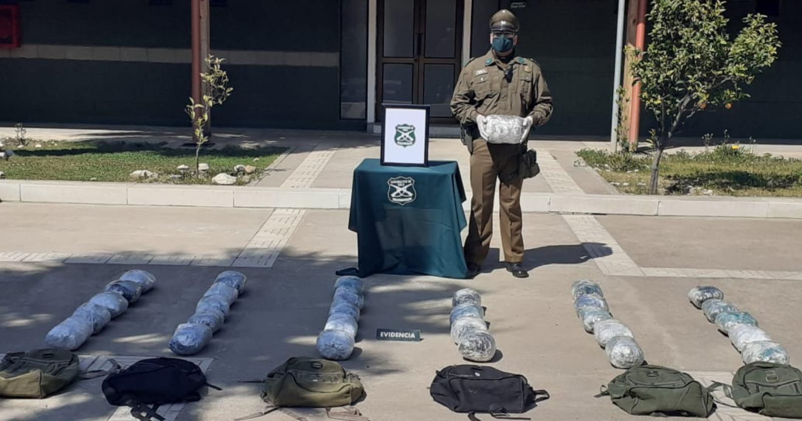 Sujeto fue detenido tras persecusión con 32 kilos de marihuana en Papudo