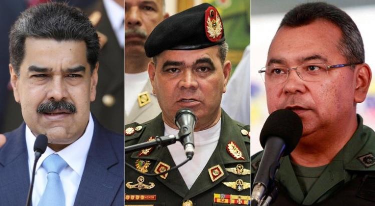 Nicolás Maduro, Vladimir Padrino López y Néstor Reverol,.