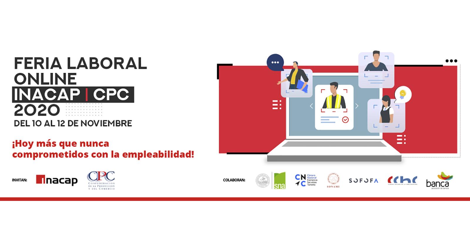 CPC e Inacap ofrecerán puestos de trabajo y prácticas laborales en feria laboral online