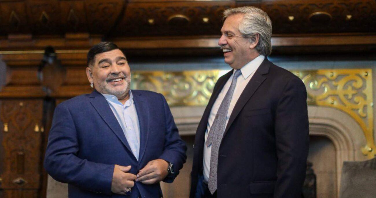 Maradona y Fernández durante una reunión. Foto: cuenta de Twitter de Alberto Fernández