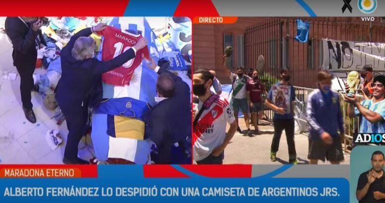 VIDEO – Alberto Fernández se despidió de Maradona y le dejó una camiseta de Argentinos Juniors