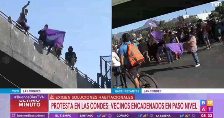 Vecinos de Peñalolén protestan en Rotonda Atenas exigiendo soluciones habitacionales