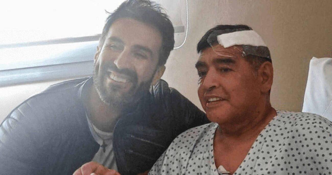 Luque junto a Maradona tras la operación. (Instagram/Leopoldo Luque)