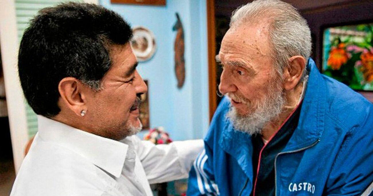 Maradona junto a Fidel Castro. (Foto: Cancillería de Cuba)