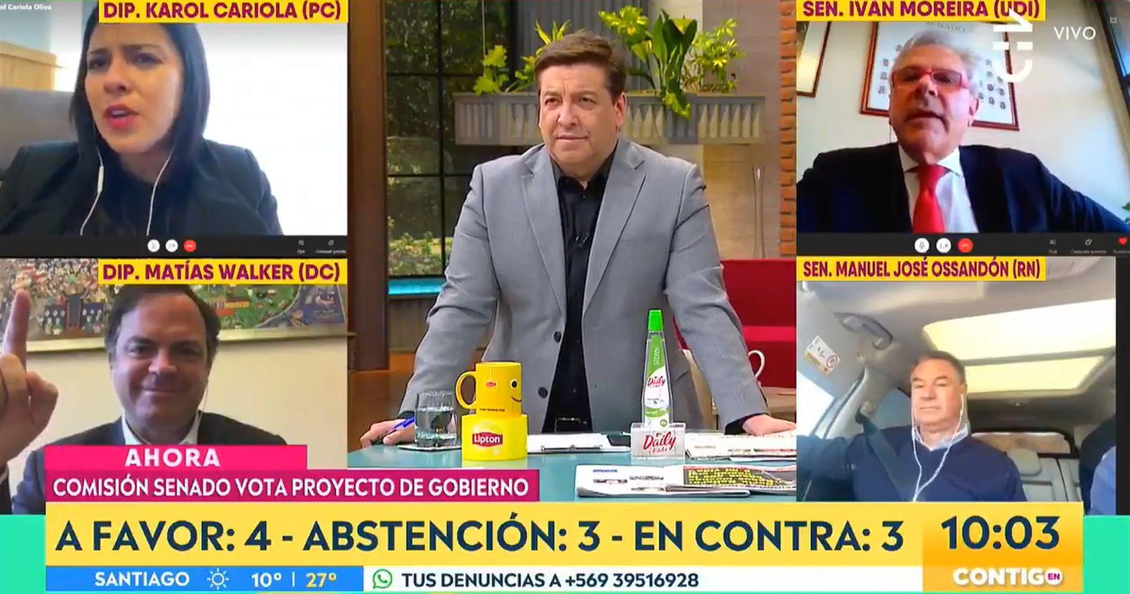 """VIDEO – """"No seas populista, chiquilla"""": el tenso cruce entre Iván Moreira y Karol Cariola en CHV"""