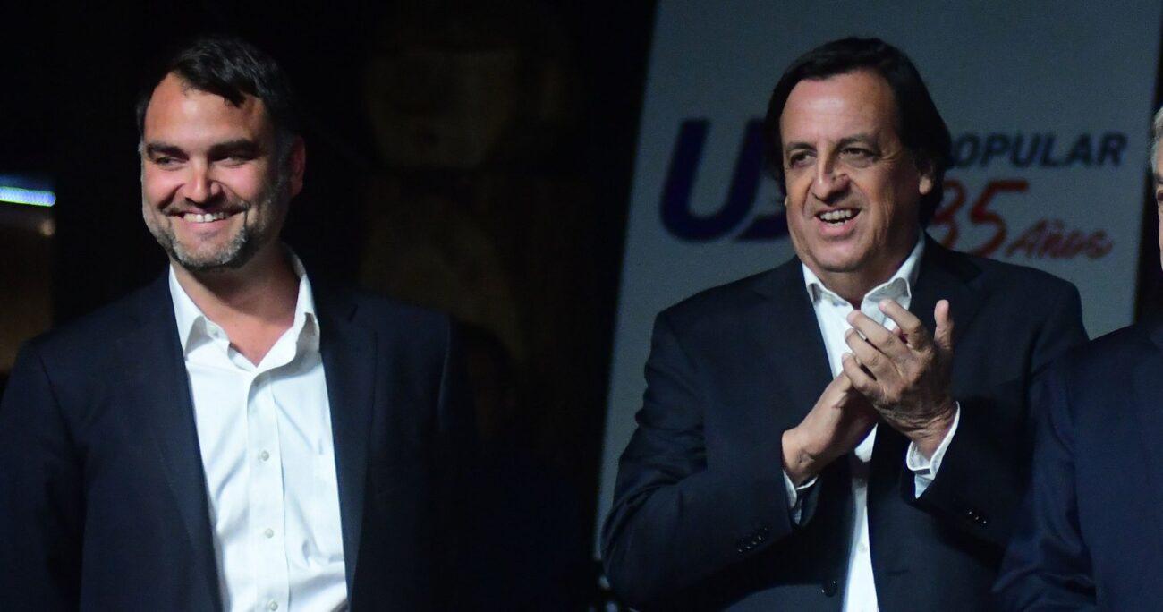 Javier Macaya y Víctor Pérez durante la conmemoración de los 35 años de la UDI. Fuente: Agencia Uno.