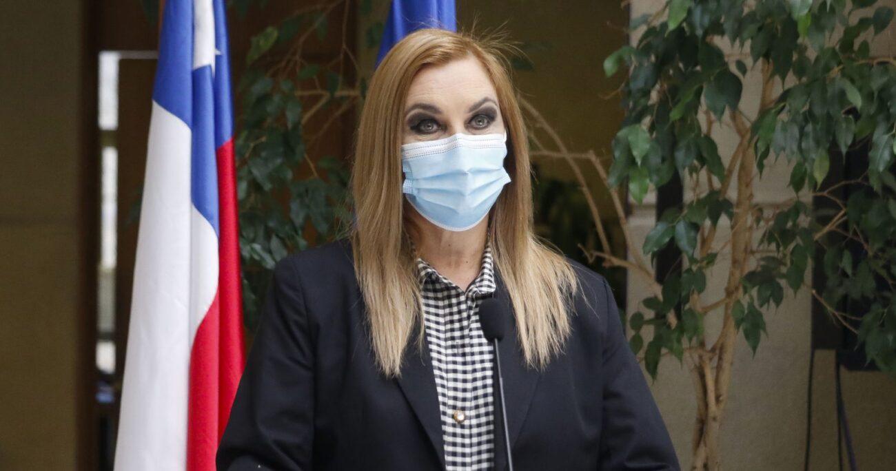 Pamela Jiles en punto de prensa en la Cámara de Diputados. Fuente: Agencia Uno.