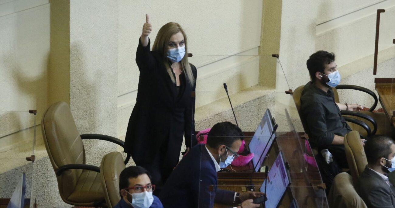 Pamela Jiles en la Cámara de Diputados. Foto: Agencia Uno