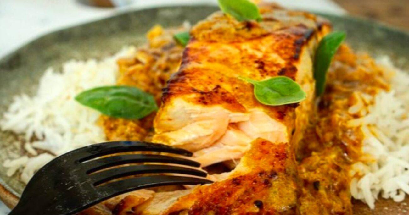 Salmón al curry rojo: Foto: instagram @virginiademariarecetas