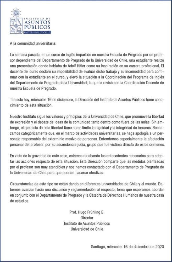 universidad de chile hitler