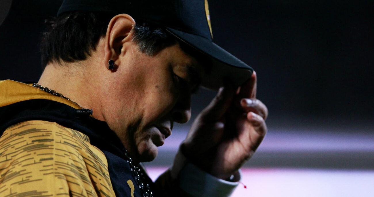 Diego Armando Maradona durante un partido del Dorados de Sinaloa. Foto: Agencia Uno.