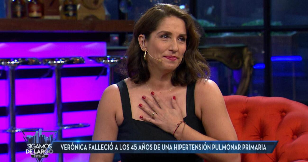 Mariana Loyola emocionada durante su visita en Sigamos de Largo. Foto: Captura de pantalla/Canal 13.