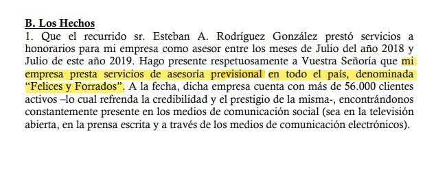 Extracto recurso de protección presentado en 2019 por Gino Lorenzini en contra de Esteban Rodríguez en la Corte de Apelaciones de Santiago.