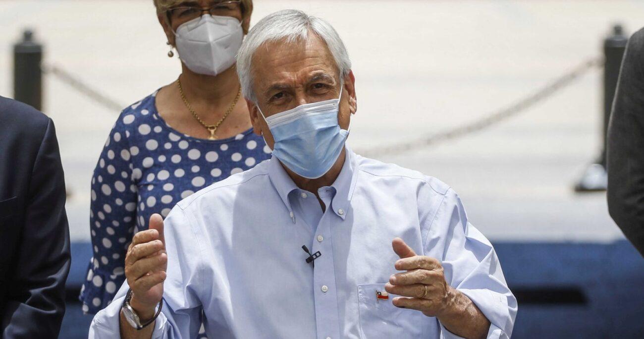 Piñera enviando el mensaje al Congreso durante una actividad oficial. Foto: Agencia Uno