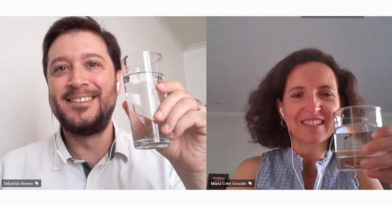 Sebastián Bowen, director ejecutivo de TECHO-Chile y Marta Colet, gerenta general Aguas Andinas.