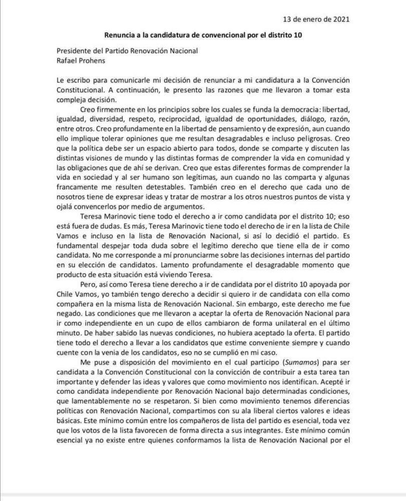 Parte de la carta enviada por Eyzaguirre a Prohens para informar su renuncia.