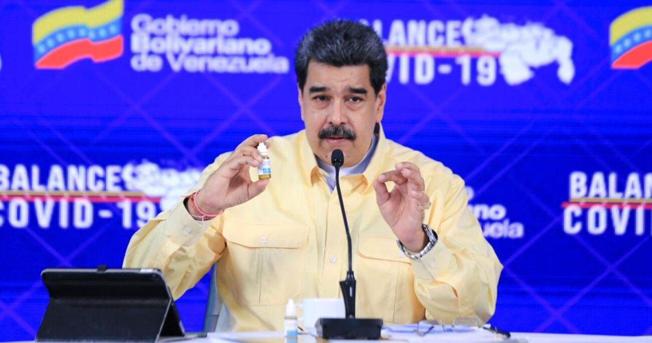 El mandatario durante la presentación del fármaco. Foto: Twitter/Nicolás Maduro