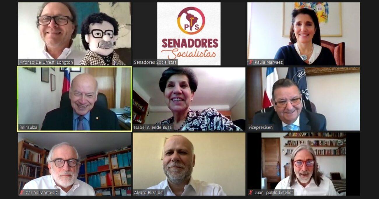 La reunión entre los congresistas y la precandidata socialista. Foto: Captura de Pantalla/Senadores PS