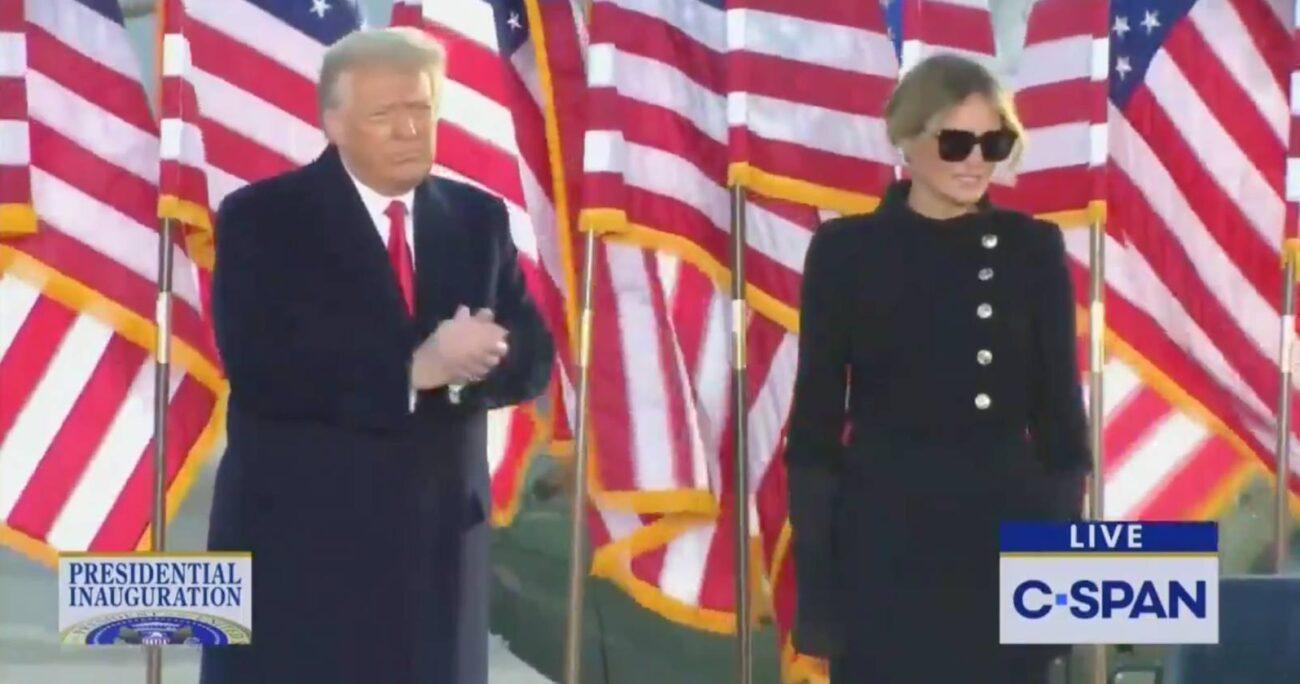 Donald y Melania Trump antes de partir rumbo a Florida. Foto: Captura de pantalla.