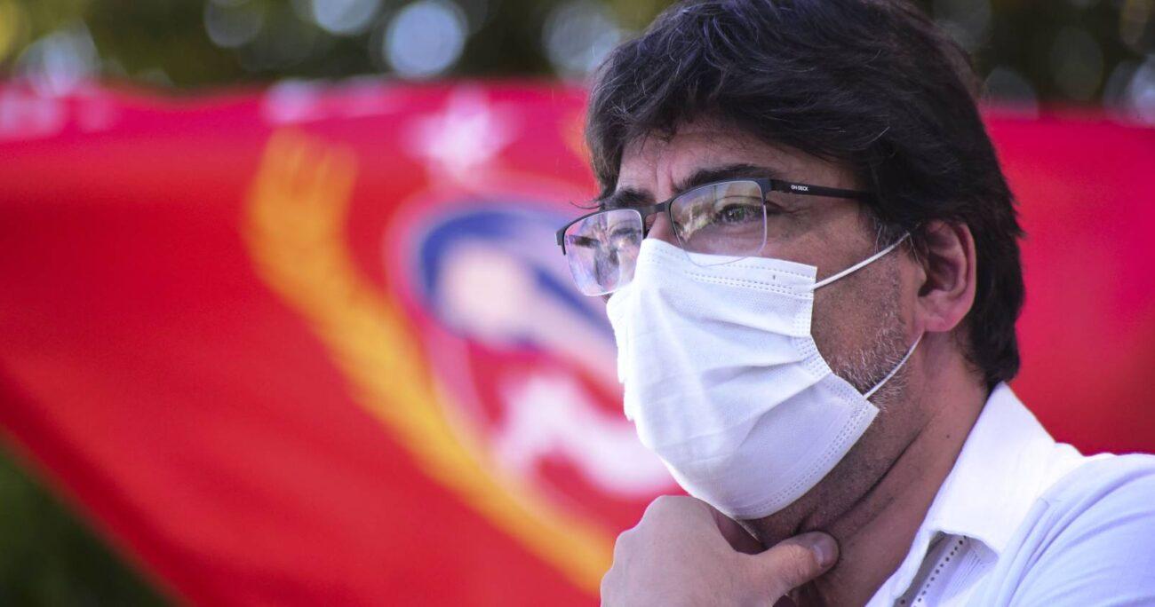 Este viernes, Daniel Jadue visitó la Región de Valparaíso para apoyar a los candidatos comunistas de cara a la elección del 11 de abril. (Agencia Uno).