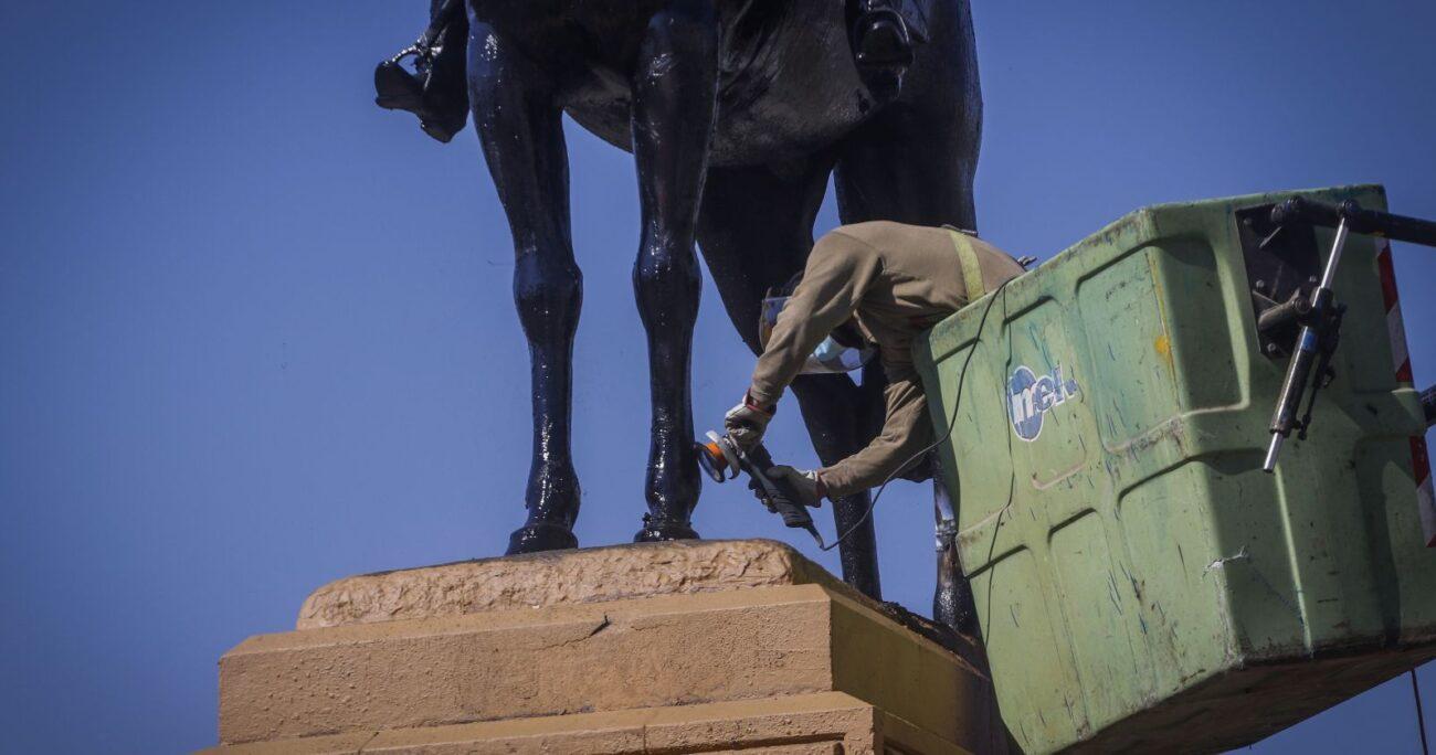 El recurso de apelación del CDE se suma a las dos querellas presentadas después del incendio y de los daños provocados a la escultura. Foto: Agencia UNO/Archivo