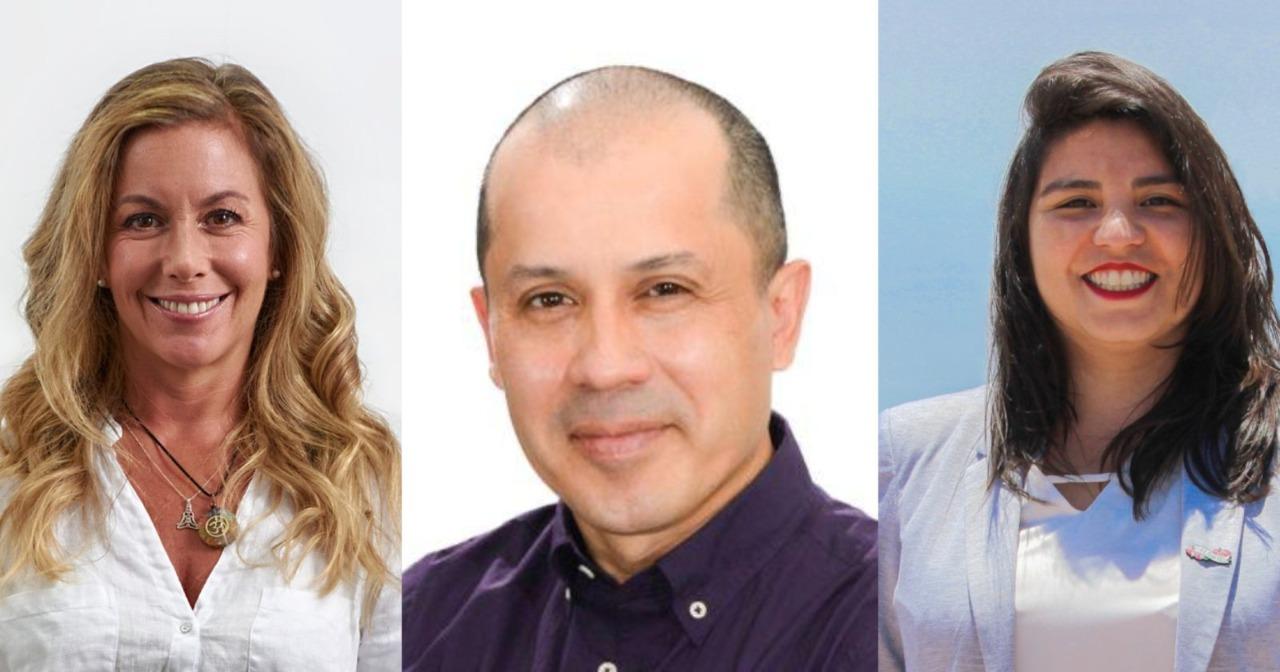 Los candidatos a constituyentes Camila Castillo, Alejandro Cantillana y Yuyuniz Navas.
