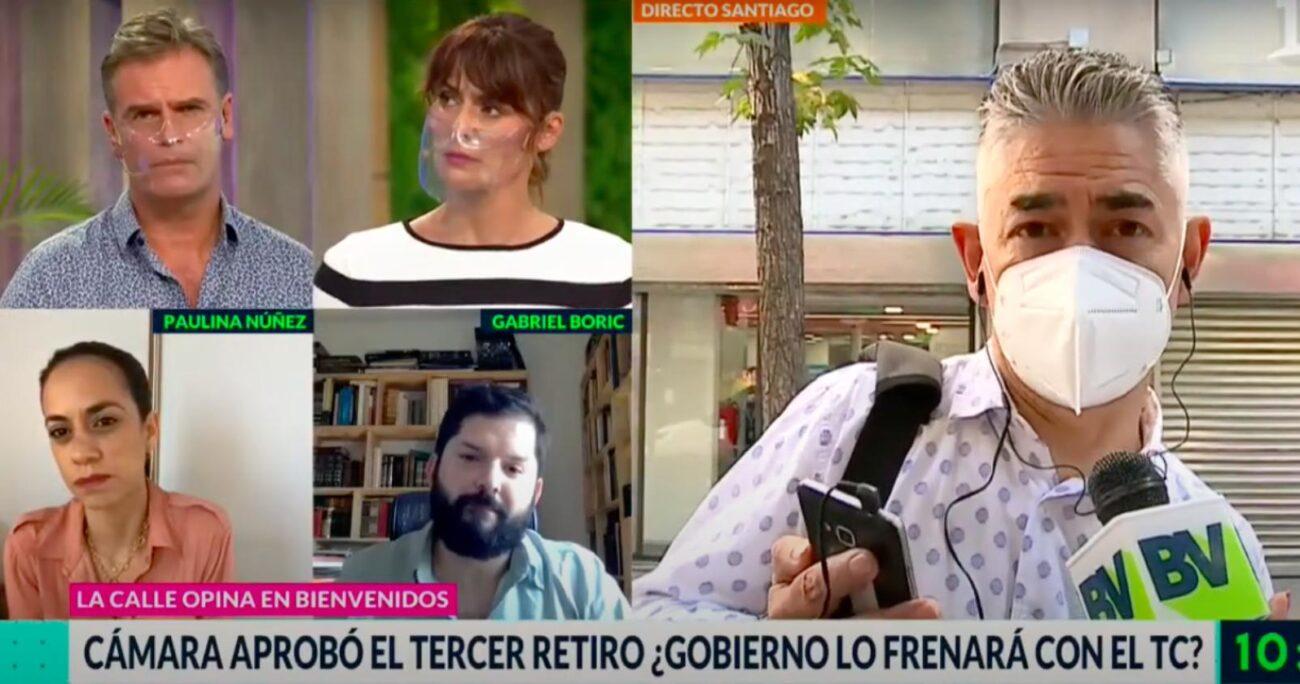 Gabriel Boric acusó a Pepe Auth de no estar conectado con la gente por rechazar el tercer retiro. CANAL 13.