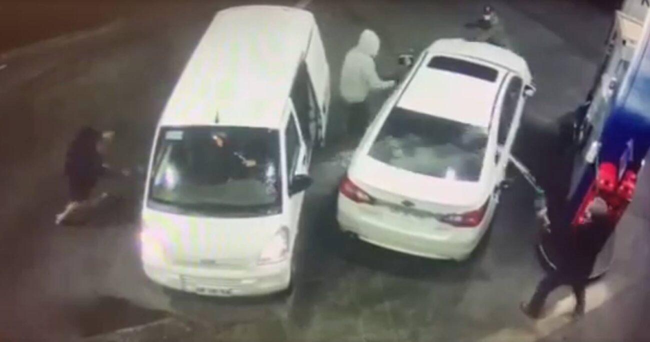 VIDEO - Hombre roció con bencina a delincuentes para frustrar encerrona en servicentro