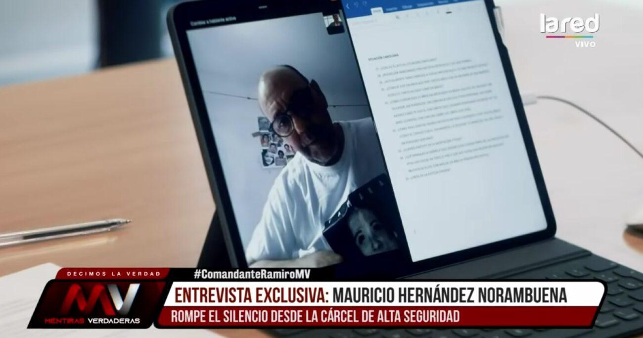 El condenado por el asesinato a Jaime Guzmán conversó con Eduardo Fuentes desde la CAS. CAPTURA DE PANTALLA/LA RED.