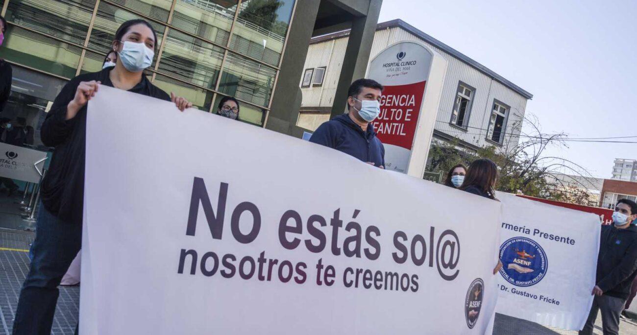 Una protesta en las afueras del Hospital Gustavo Fricke por el caso de las enfermeras. AGENCIA UNO/ARCHIVO