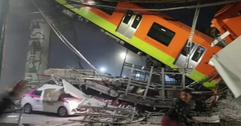 VIDEO – Carro del Metro de Ciudad de México se descarrila de vía elevada