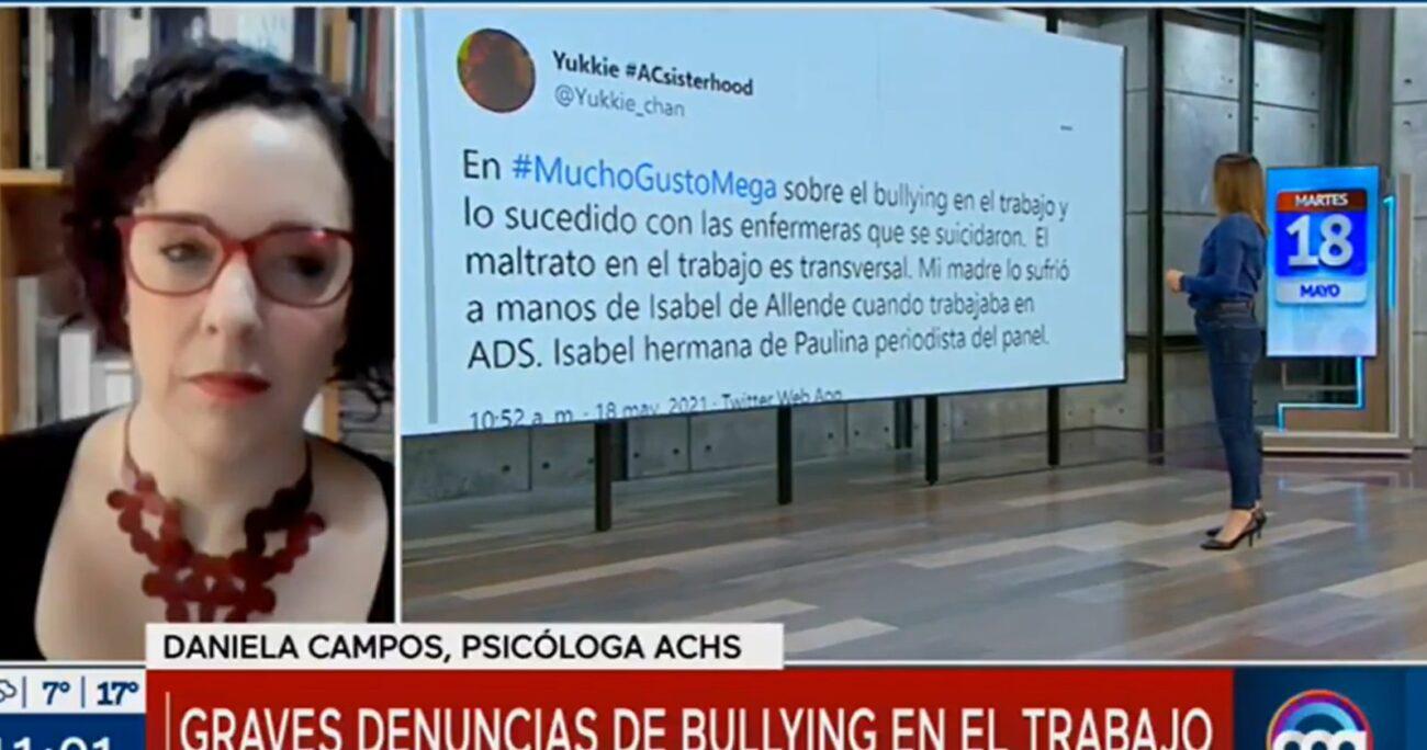 La periodista al momento de leer el mensaje. CAPTURA DE PANTALLA/MEGA