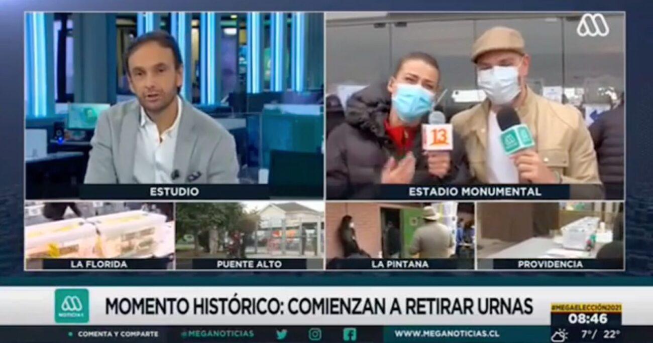 Ambos rostros trabajan para Mega y Canal 13 en la cobertura de las elecciones.